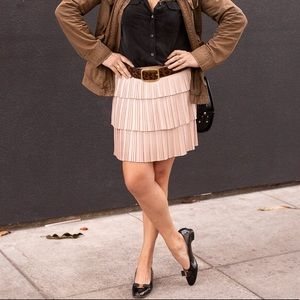 BCBG pink pleated tiered mini skirt M